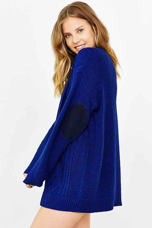 BDG Elbow Patch Sweater,BLUE MULTI,S