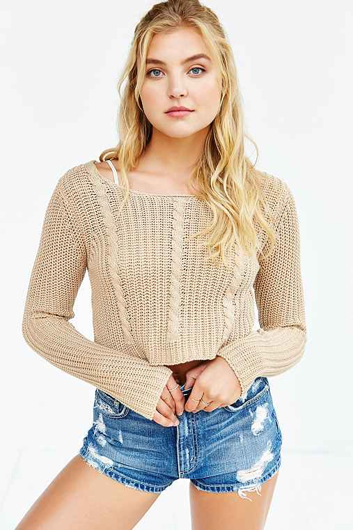 UNIF X UO Cropped Cable-Knit Sweater,TAUPE,M