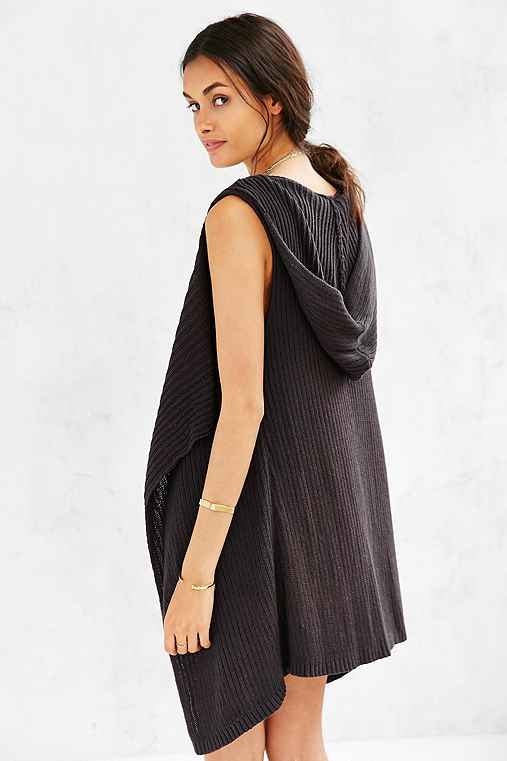 Ecote Draped Vest Cardigan,BLACK,M