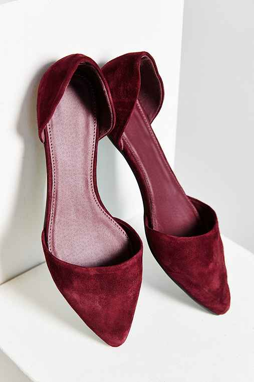 Suede D'Orsay Flat,MAROON,9
