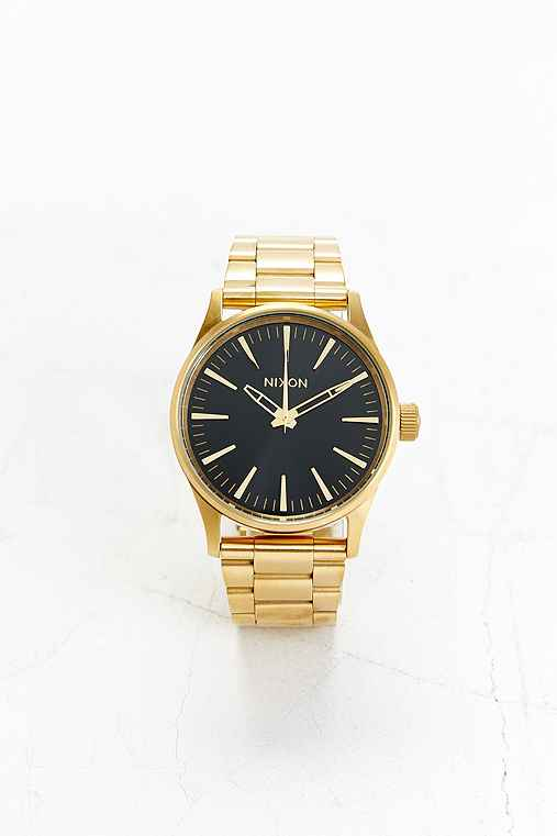 Nixon Sentry 38 Stainless Steel Watch,BLACK & GOLD,ONE SIZE