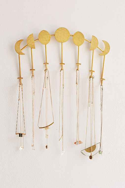 Magical Thinking Artemis Wall Mounted Necklace Holder,GOLD,ONE SIZE