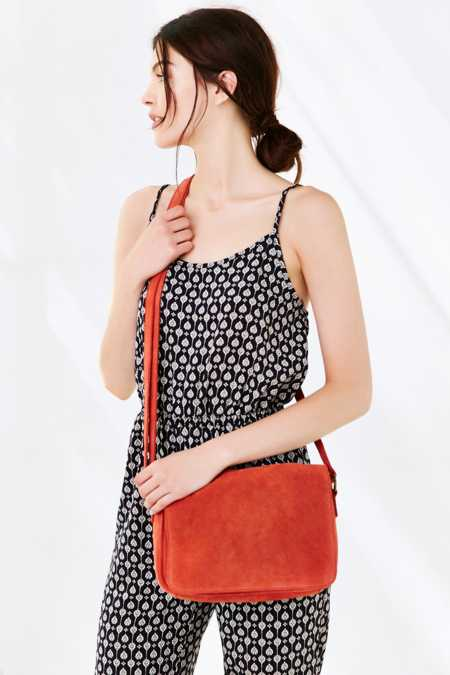 Ecote Perforated Suede Messenger Bag