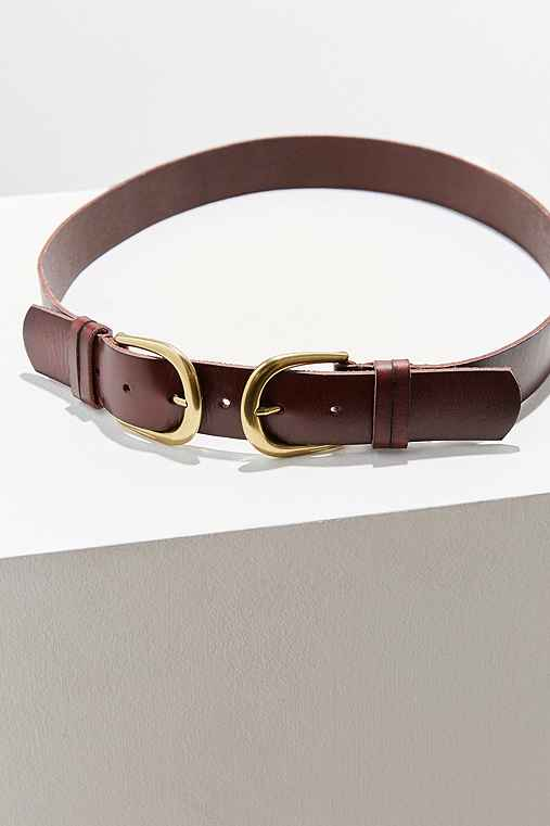 BDG Double Buckle Belt,BROWN,S/M