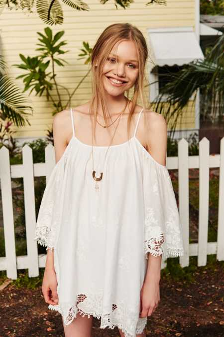 Honey Punch Embroidered Off-The-Shoulder Dress