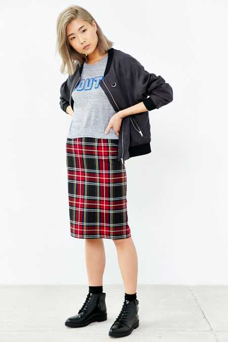 BB Dakota Lyla Plaid Pencil Skirt