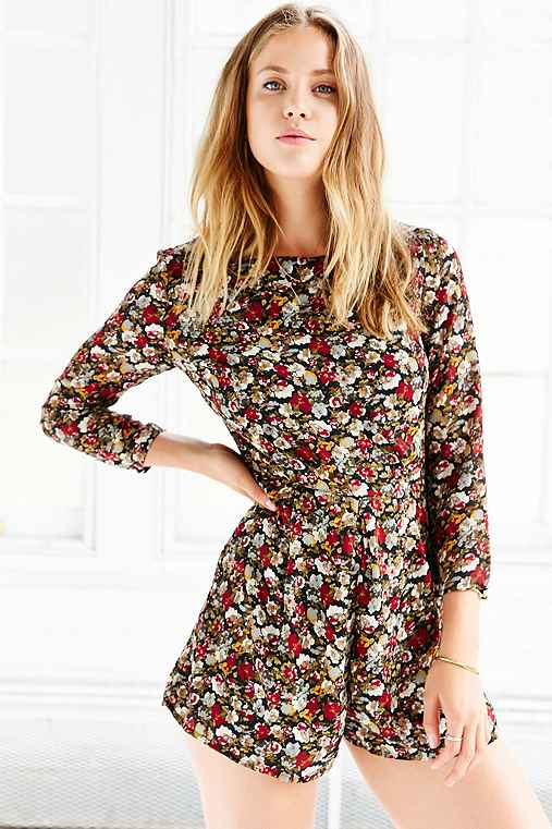 Lucca Couture Floral Chiffon Long-Sleeve Romper,FLORAL MULTI,M