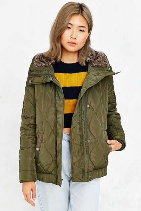 Levi's Quilted Faux Fur Hood Jacket