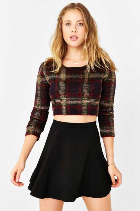 Silence + Noise Ribbed Knit Skater Skirt
