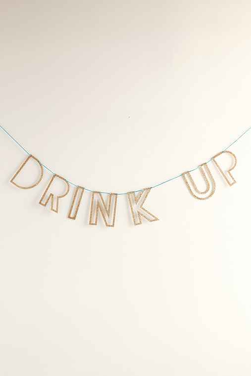 Drink Up Acrylic Banner DIY Kit,GOLD,ONE SIZE