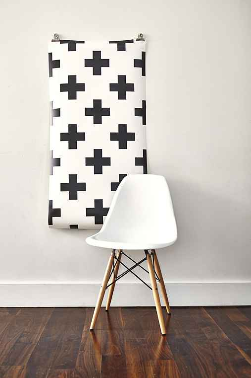 Chasing Paper Plus 1 Removable Wall Paper,BLACK & WHITE,ONE SIZE