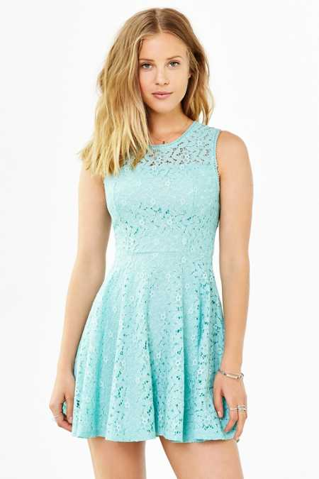 Kimchi Blue Lace Sheer Fit + Flare Dress