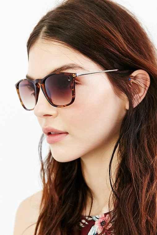 Boyfriend Slim Square Sunglasses,BROWN,ONE SIZE