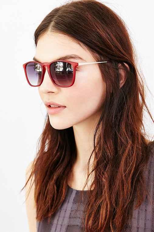 Boyfriend Slim Square Sunglasses,RED,ONE SIZE