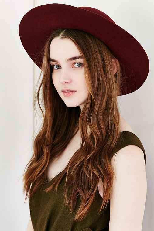 Brixton Magdalena Wool Hat,MAROON,S