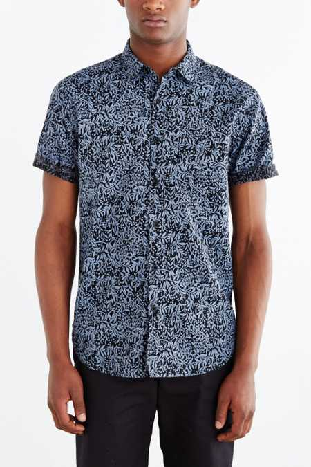 Your Neighbors Short-Sleeve Kieran Printed Button-Down Shirt
