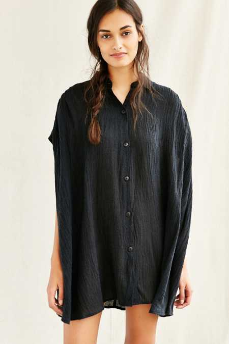 Mixed Business Pleated Oversized Shirt