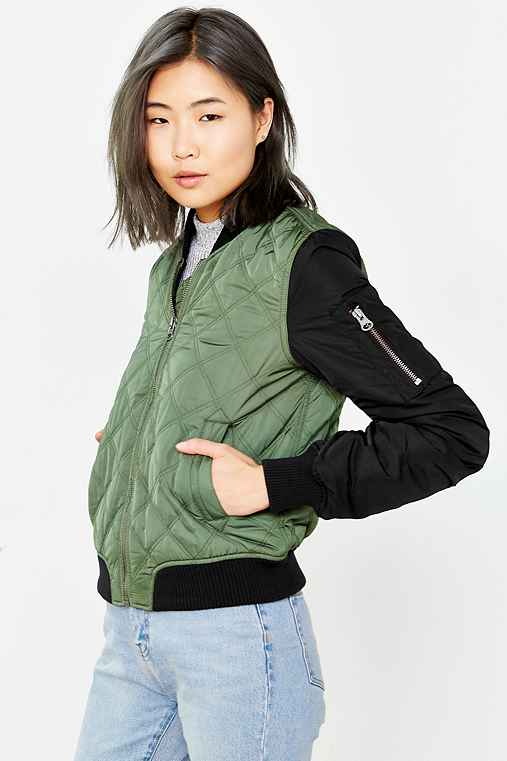 Silence + Noise Quilted Bomber Jacket,OLIVE,S