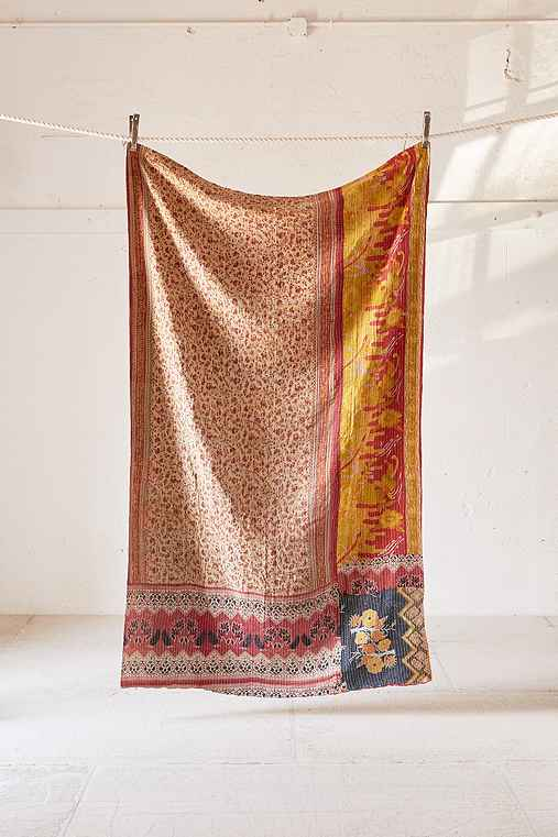 One-Of-A-Kind Kantha Throw Blanket,MULTI,ONE SIZE