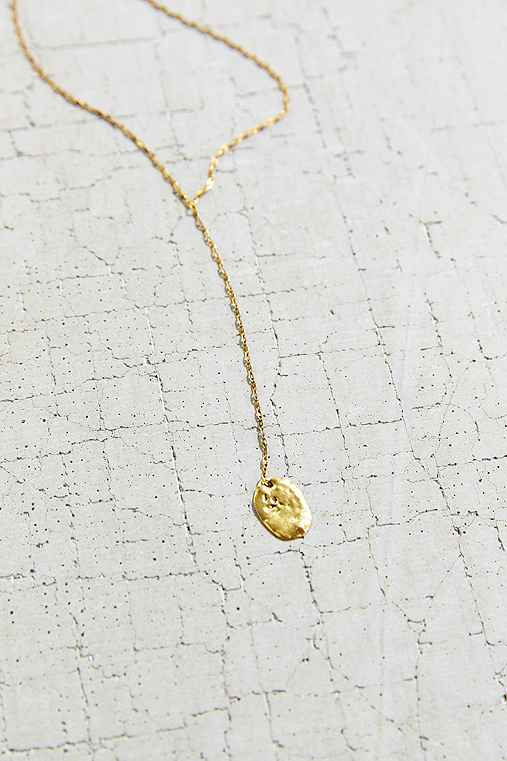 Flat Disc Lariat Necklace,GOLD,ONE SIZE