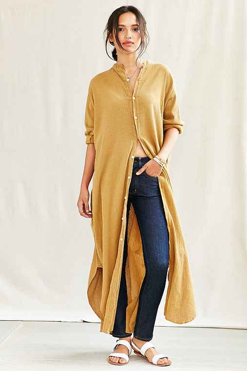Urban Renewal Remade Button Front Maxi Dress,MUSTARD,L