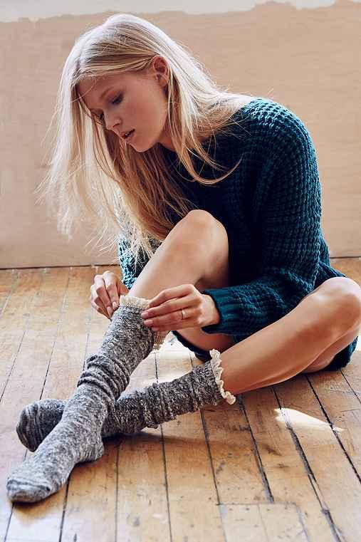 Crochet Button Cuff Knee-High Sock,DARK GREY,ONE SIZE