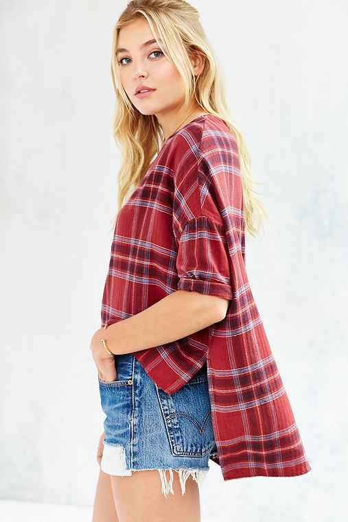 BDG Extreme Boxy Blouse,RED PLAID,S