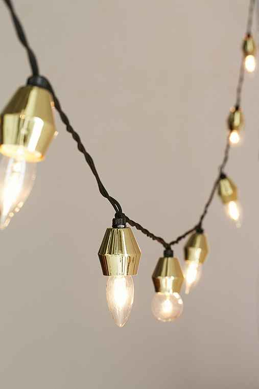 Metal Cap String Lights,GOLD,ONE SIZE