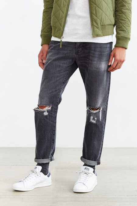 Neuw Black Destructed Studio Relaxed Jean