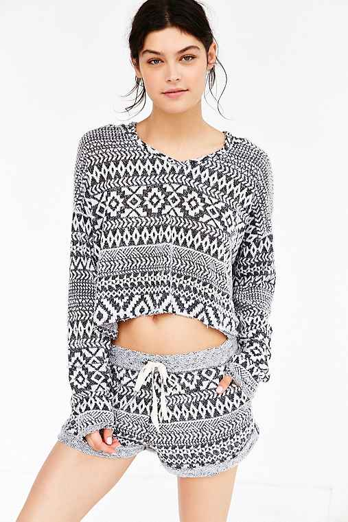 Out From Under Cozy Geo Terry Hoodie,BLACK & WHITE,M