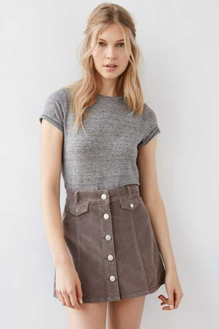 BDG Corduroy Button-Front Mini Skirt