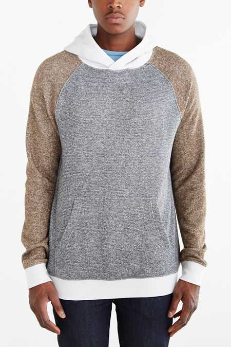 BDG Speckled Colorblocked Pullover Hoodie Sweatshirt