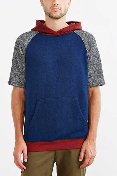 BDG Colorblock Short-Sleeve Pullover Hooded Sweatshirt