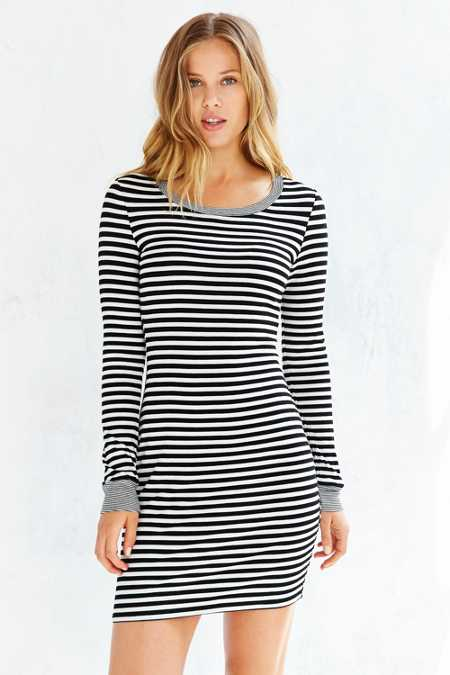 Silence + Noise Striped Long-Sleeve Bodycon Dress