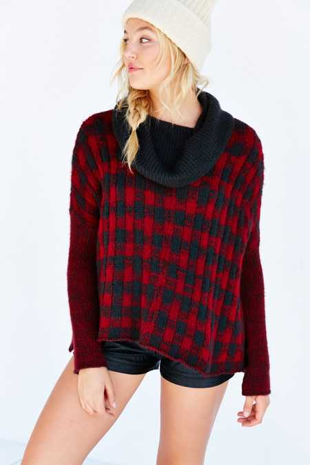 Wooden Ships Buffalo Plaid Sweater Poncho