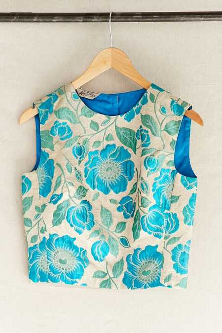 Vintage Blue Brocade Cropped Top