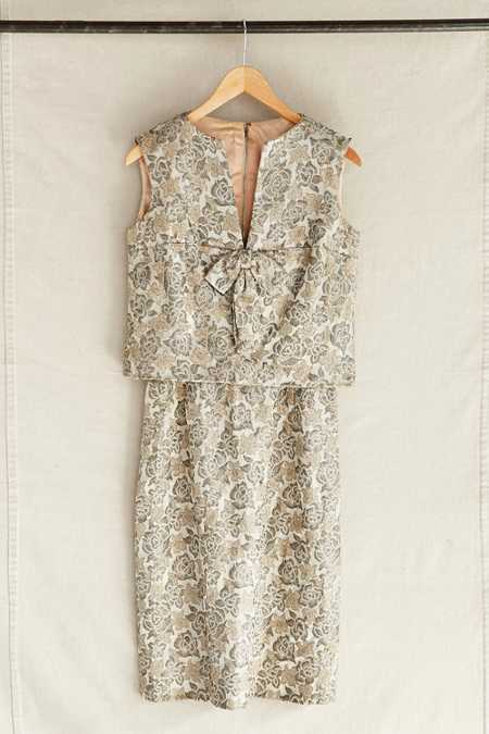 Vintage Champagne Brocade Two-Piece Dress