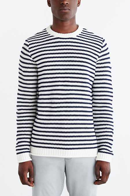 CPO Stripe Rolled Hem Crew Neck Sweater