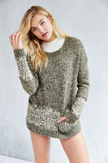 Ecote Patterned Pocket Pullover Sweater