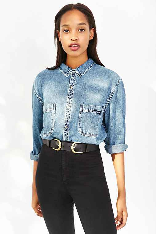 Rolla's Denim Button-Down Shirt,VINTAGE DENIM MEDIUM,L