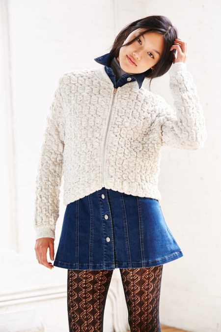 Cooperative Bubble Textured Bomber Cardigan