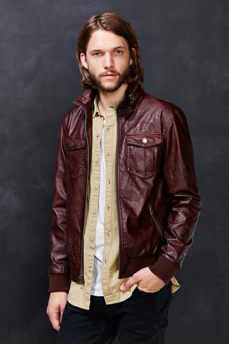 Faux-Leather Zip Collar Moto Jacket