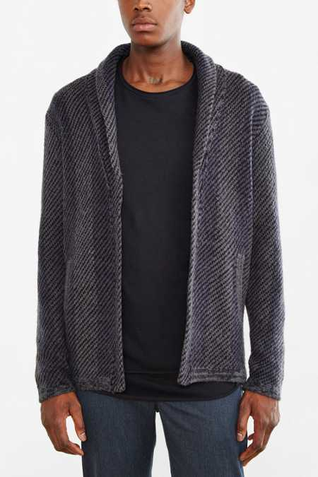 Your Neighbors Striped Knit Shawl Cardigan