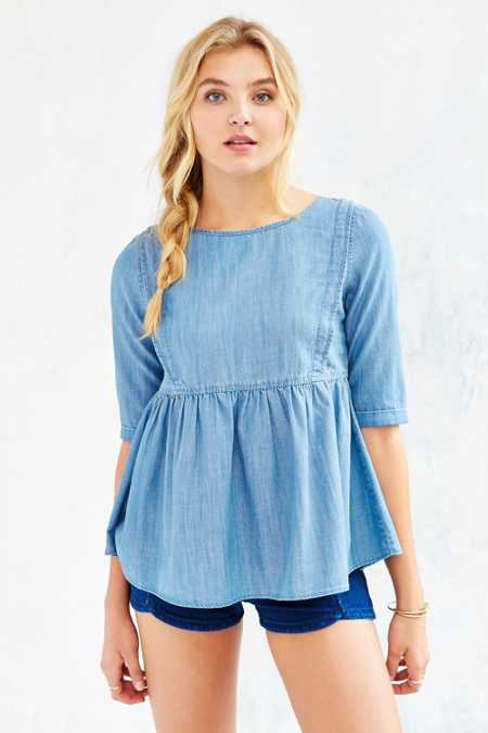 BDG Babydoll Chambray Top