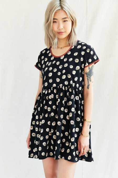 Urban Renewal Remade Printed Collar Babydoll Dress