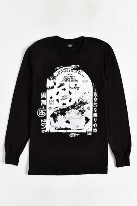 Stussy Black Wave Long-Sleeve Tee