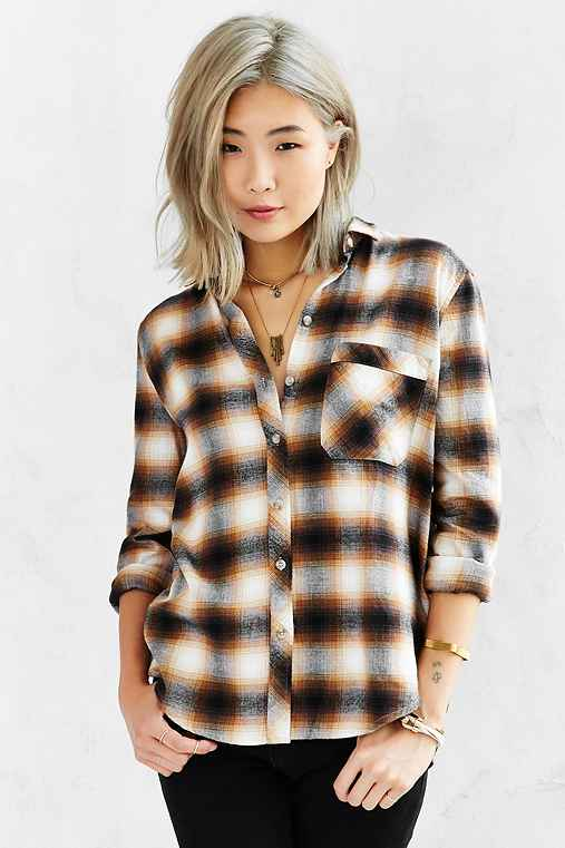 BDG Olly Flannel Shirt,BROWN,M