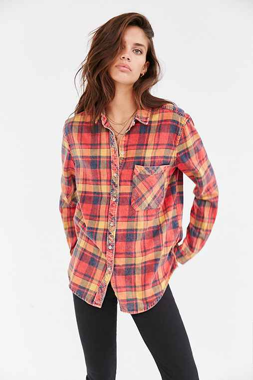 BDG Olly Flannel Shirt,RED,S