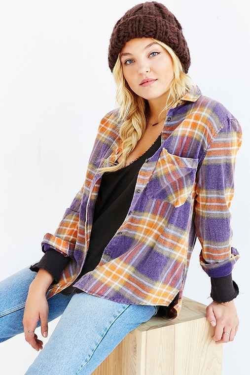 BDG Olly Flannel Shirt,ORANGE,L