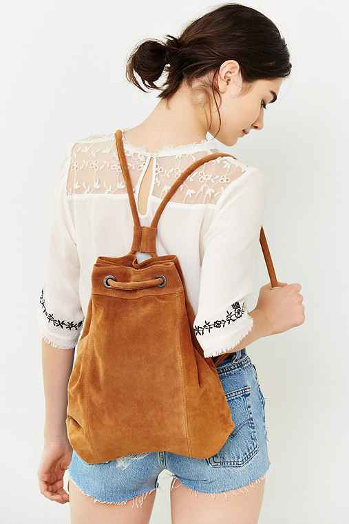 Ecote Drawstring Hobo Backpack,BROWN,ONE SIZE